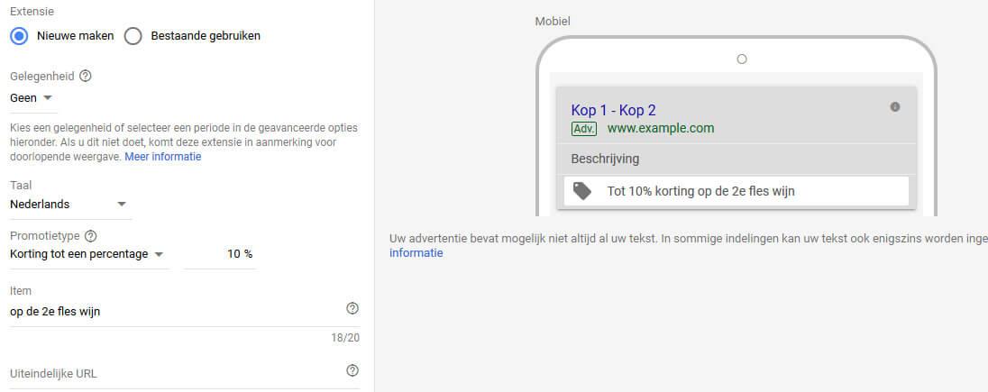 Promotie-extensie van Google Ads